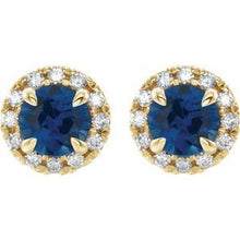 Load image into Gallery viewer, 14K Yellow Blue Sapphire & 1/3 CTW Diamond Earrings