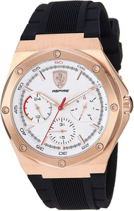 Ferrari Aspire, Quartz Rose Gold Plated and Silicone Strap Casual Watch, Black, Men, 830555