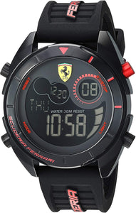 Ferrari Men's Forza Quartz Watch with Silicone Strap, Black, 22 Model: 0830548