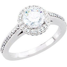 Load image into Gallery viewer, 14K White 6.5 mm Round 1 3/8 CTW Diamond Semi-Set Engagement Ring