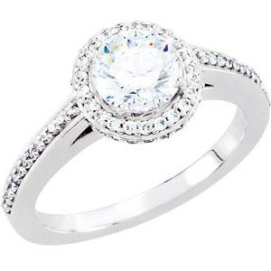 14K White 6.5 mm Round 1 3/8 CTW Diamond Semi-Set Engagement Ring