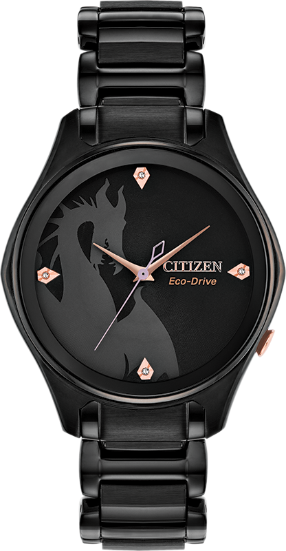 EM0595-51W Channel the Mistress of All Evil in a sleek Disney Villains Maleficent diamond watch from CITIZEN®