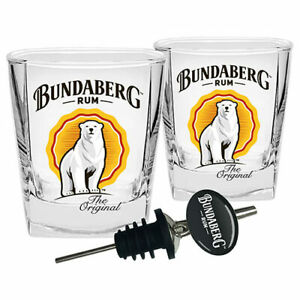 Bundaberg Rum Spirit Glasses with Pourer - Set of 2
