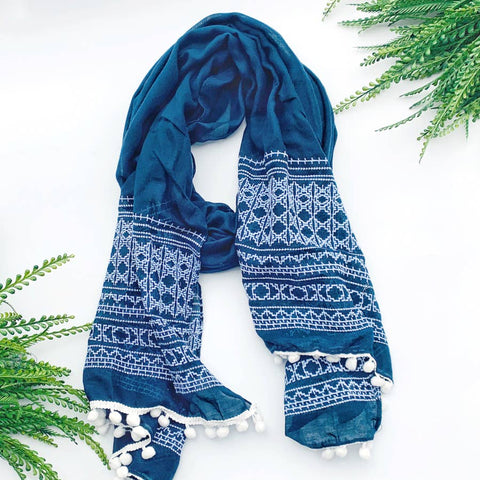 Blue Patterned Lightweight Scarf