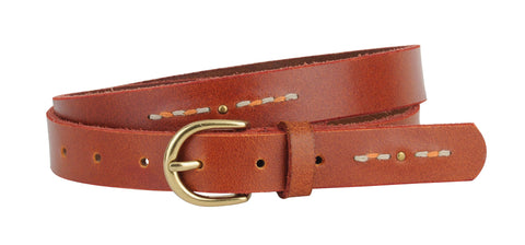Studded and Stitched Skinny Belt