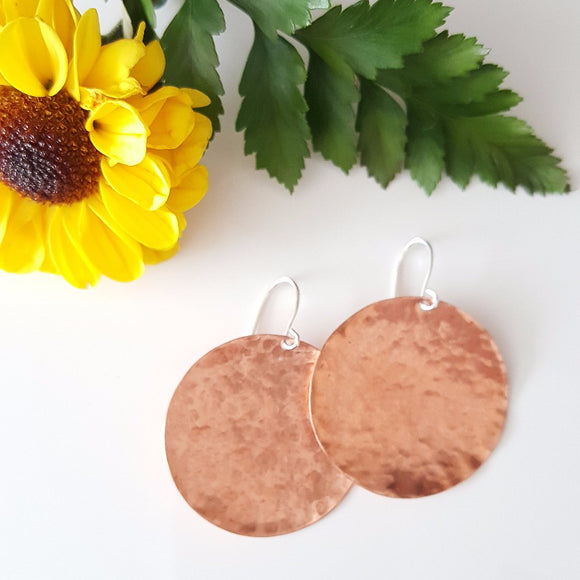 Rose - Handmade Hammered Copper Disk Earrings