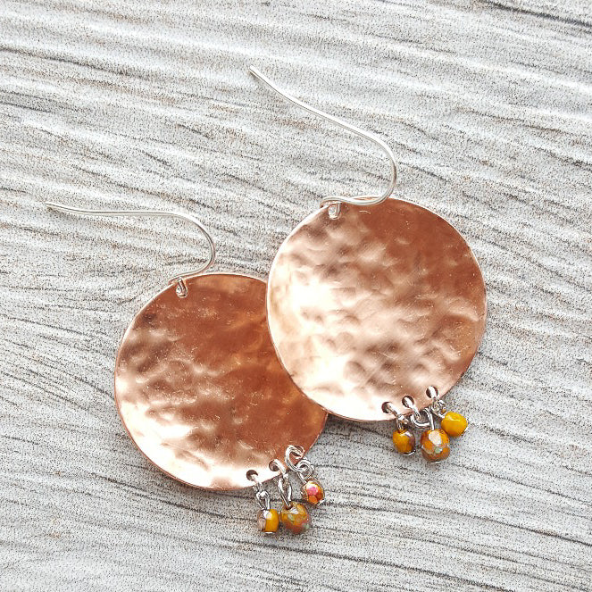 Chamomile Rose - Handmade Hammered Copper Disk Earrings with drop