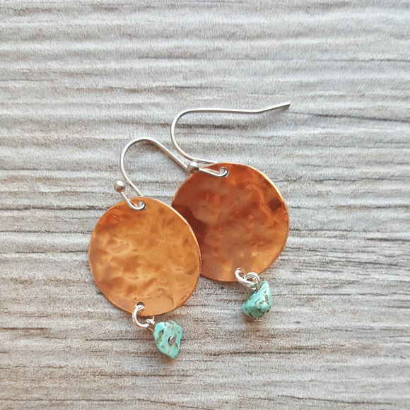 Mini Rose -Hammered Copper Disk Earrings with Turquoise