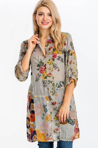 Floral Printed Patchwork Shirt-Dress with Vintage Wash
