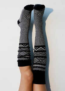 Black Scandinavian Knee High Socks