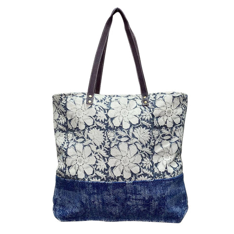 Hand blocked Tapestry Blue Floral Tote