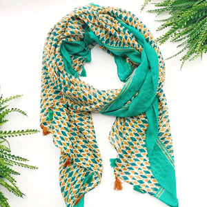 Teal and Orange Patterned Lightweight Scarf