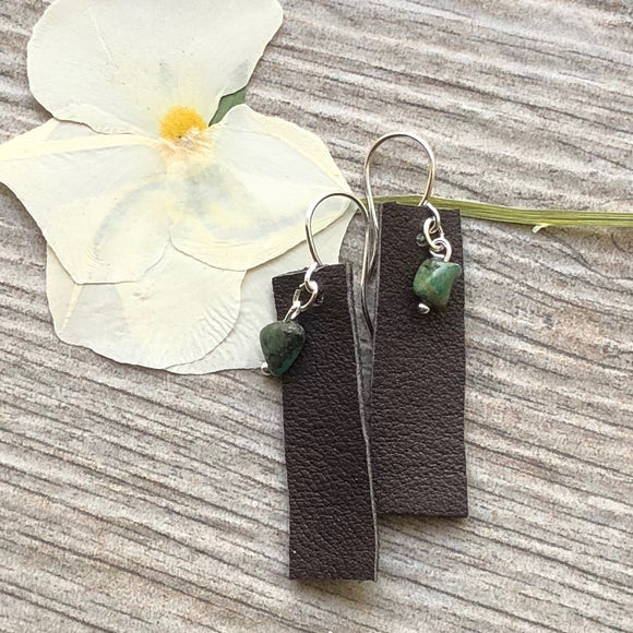 Handmade Leather and Turquoise Earrings