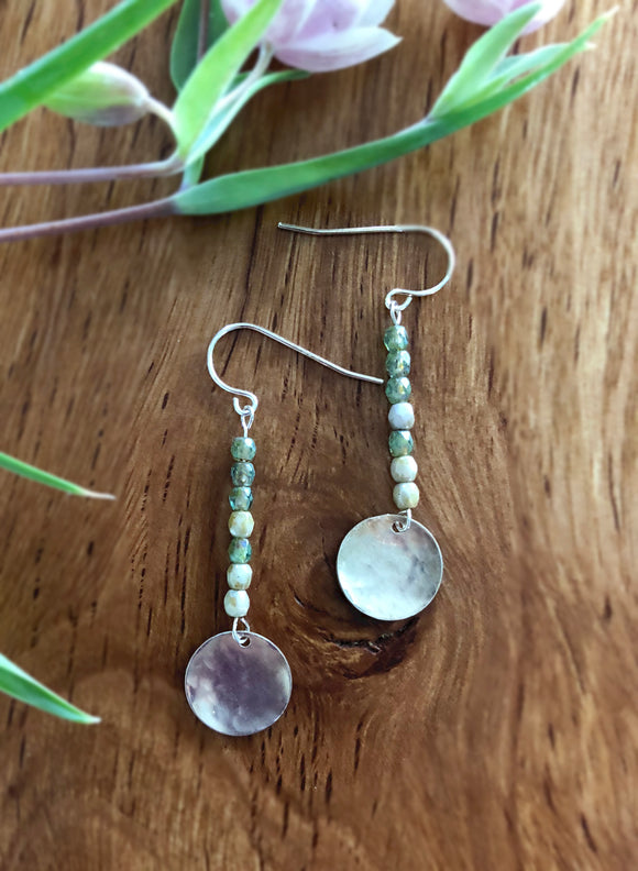Stone and Silver Full Moon Dangle Earrings
