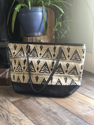 Leather & Canvas Patterned Tote