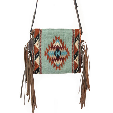 Mint diamonds fringe bag