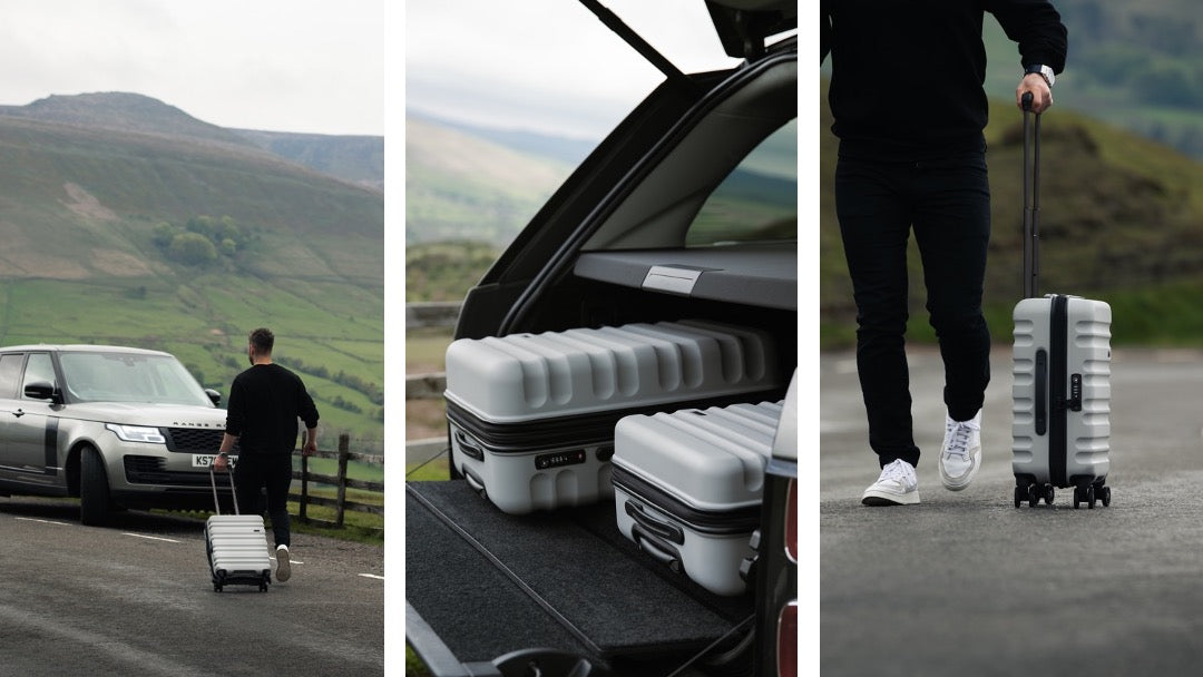 Alex Searle with Antler Clifton Suitcases in Grey