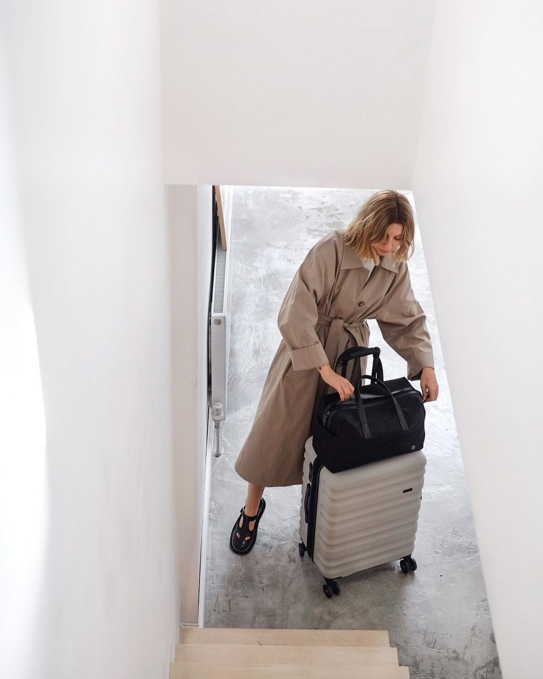 Brittany Bathgate with Antler Clifton suitcase in taupe