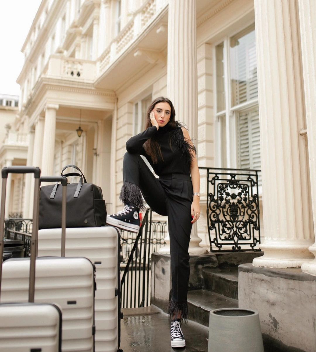 Gabriella Berdugo travels with the Antler Clifton set in taupe