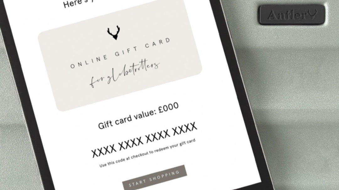 Travel gifts for under £50—Antler gift card