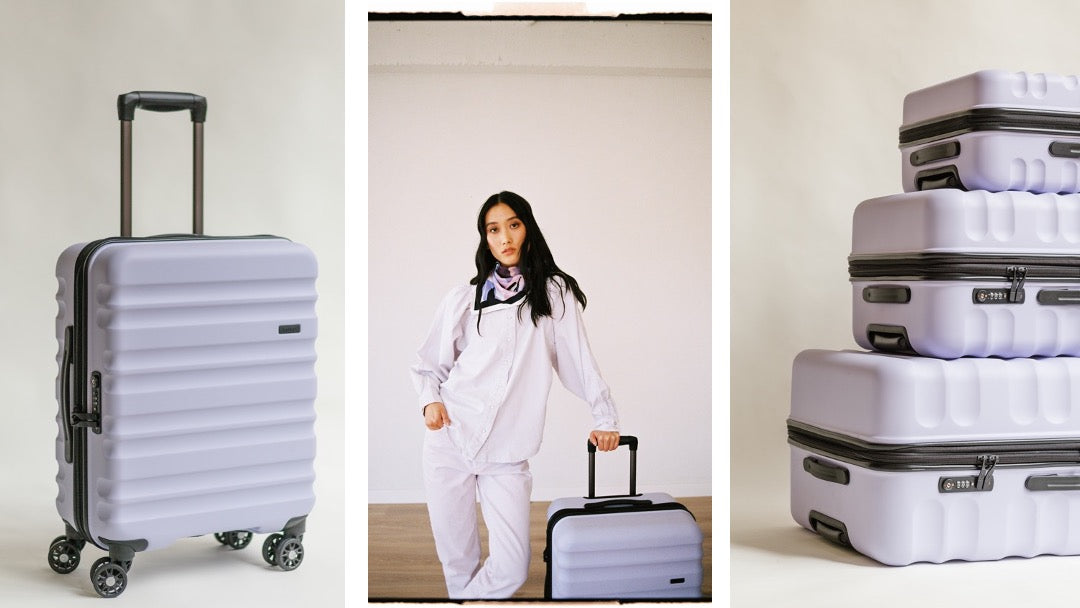 Antler new Clifton suitcases in lilac