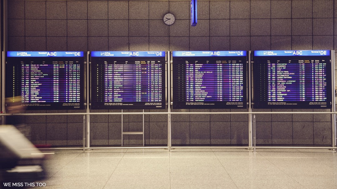The airport departure board