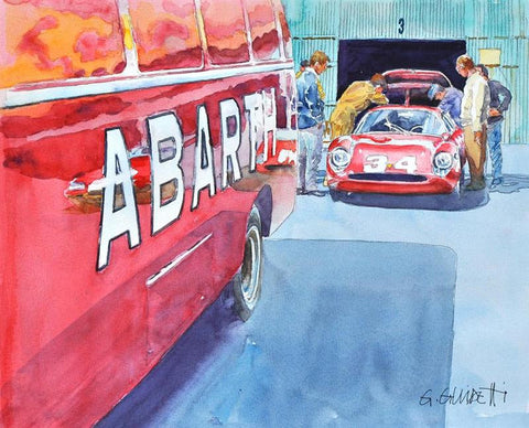 Abarth Service Van and 1300 OT Print Poster