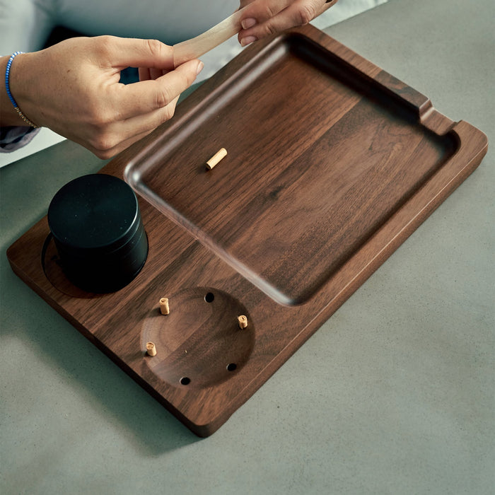 Matriarch Old Faithful | Black Walnut Wood Classic Rolling Tray - The Grown Depot
