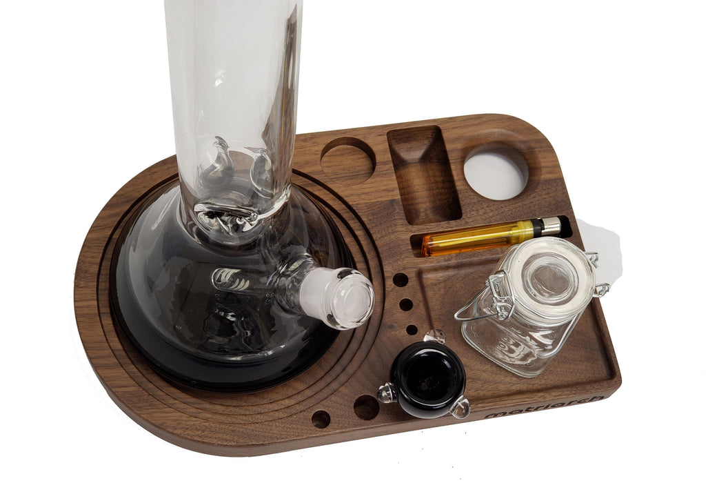 Matriarch Rig Station | Black Walnut, Original Glass & Water Pipe Workstation - The Grown Depot