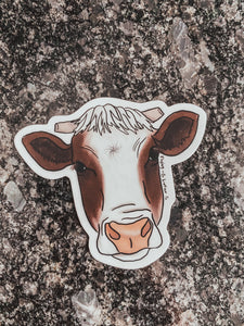 Dark Brown Calf Head Sticker