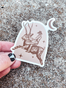 Jackrabbit Cowboy Sticker