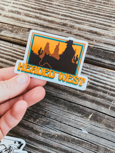 Headed West Sticker