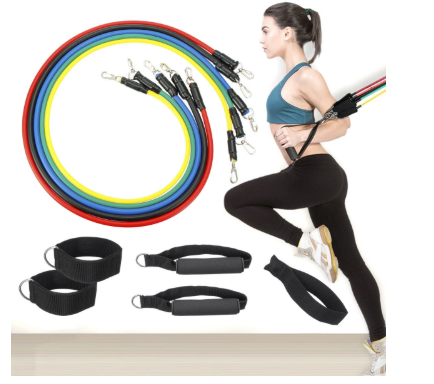 11pcs/set 10-30LBS Resistance Bands Home Workout/Exercise/Fitness Stretch Elastic Bands