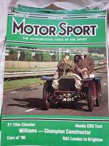 Motorsport December 1986 please see second image for contents