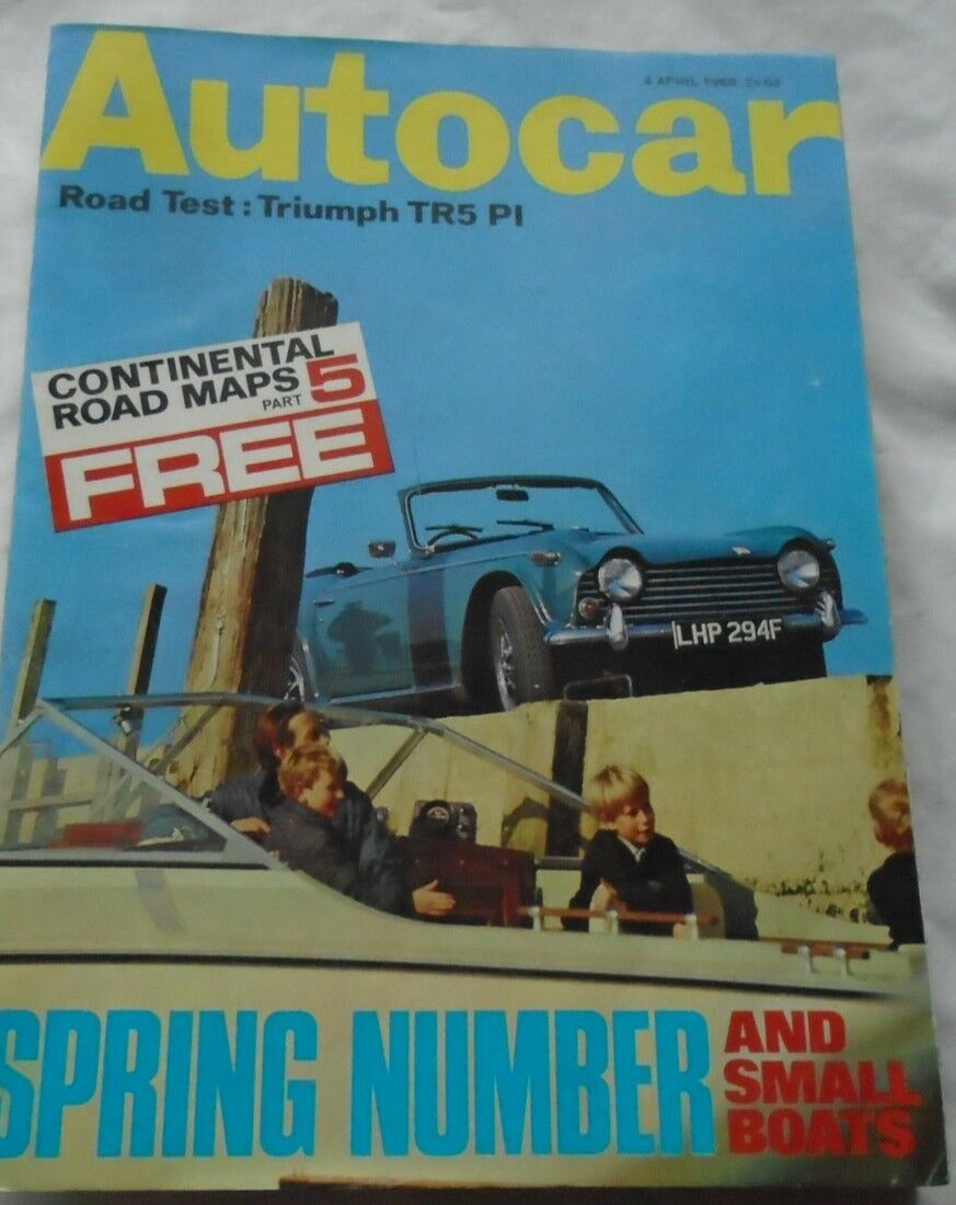 AUTOCAR 4 APRIL 1968 - TRIUMPH TR5 PI - SMALL BOATS