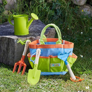 Kids Gardening Tool Bag, Rake, Trowel, Fork. High Quality. Wooden Handle