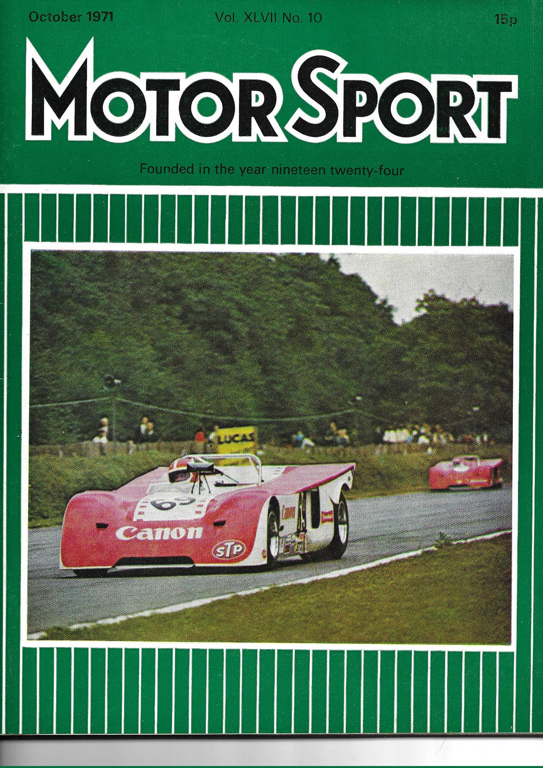 Motor Sport, Motorsport, Magazine, Vol XLVII No 10, October 1971, Very Good Condition