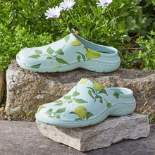 Load image into Gallery viewer, Briers Sicilian Lemon Comfi Clog- (Green with Lemon Tree pattern) - Garden Clogs Sizes 4 - 8 - Comfy (Comfi) Clogs
