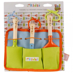 Tool Belt and 3 Wooden Handled Gardening Tools- Kids Tool Sets