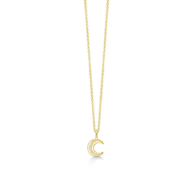 ID Fine Cresent Moon Necklace Gull Halskjede Dame