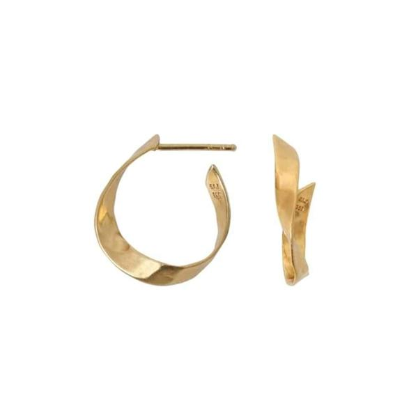 Stine A Twisted Hammered Creol Earring Right-Tilbehør-Stine A-kaoz