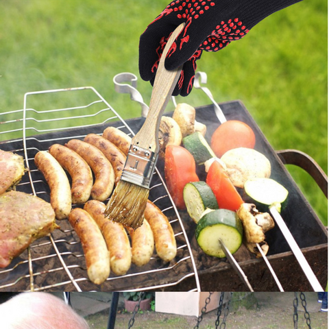 BBQ Grilling Gloves Basting Meat On BBQ