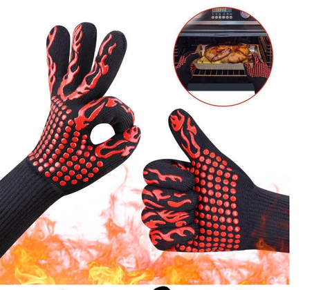 BBQ Grilling Gloves With Flames Hot Oven Dish