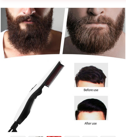 Images of men with untidy beards and groomed beards using mens beard straightener brush