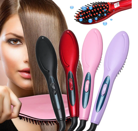 Straightener Brush Woman Brushing Hair Using