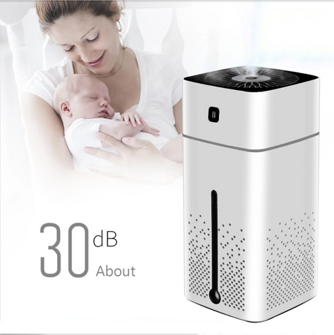 Mother and baby with White Air Purifier Ionizer Humidifier Aroma Diffuser with LED Lights