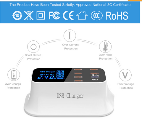 Multi USB CHarge 8 Port Hub With LCD Display Safety Points