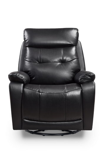 Glider Recliner Swivel Power Chair With USB Port In Black Leather Ultimate Man Chair