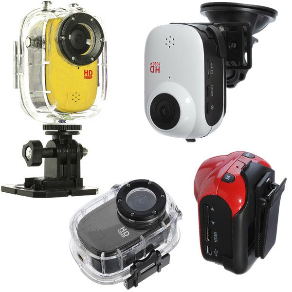 Waterproof Action 108DP Cameras With Different Mount Positions
