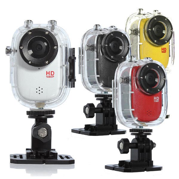 Waterproof Action Cameras With Mount Red Yellow Black White